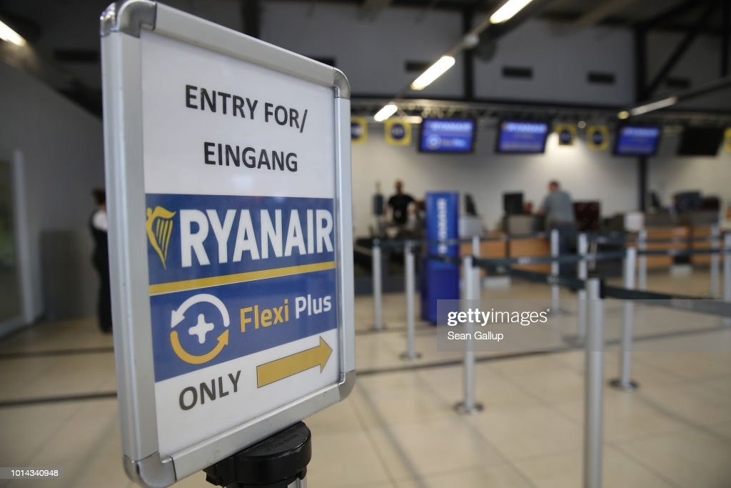 A RyanAir check-in counter stands at Schoenefeld Airport near Berlin during a 24-hour strike by RyanAir pilots on August 10, 2018 in Schoenefeld, Germany. RyanAir pilots in Germany, Ireland, Sweden, Belgium and Holland are taking part in the strike over demands for better pay and working conditions.