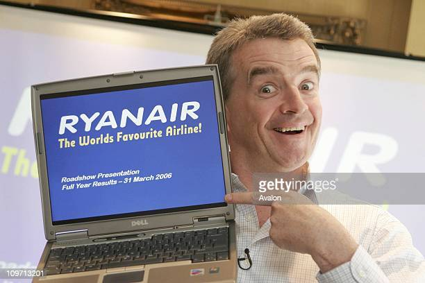 Ryanair Chief Executive Michael O'Leary annouces record after tax profits of 302 Million Euros London Photo Shows Michael O'Leary Chief Excutive of...