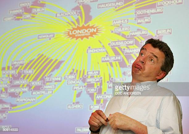 Ryanair chief executive officer Michael O'Leary presents the annual results of the company in London 01 June 2004 The lowcost airline posted an after...