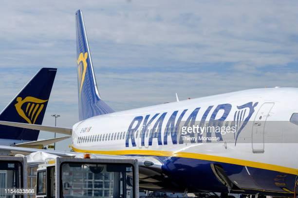 AIRPORT GOSSELIES HAINAUT BELGIUM JULY 5 2019 Ryanair DAC is a lowcost Irish airline founded in 1984 with headquarters in Swords Ireland Ryanair is...