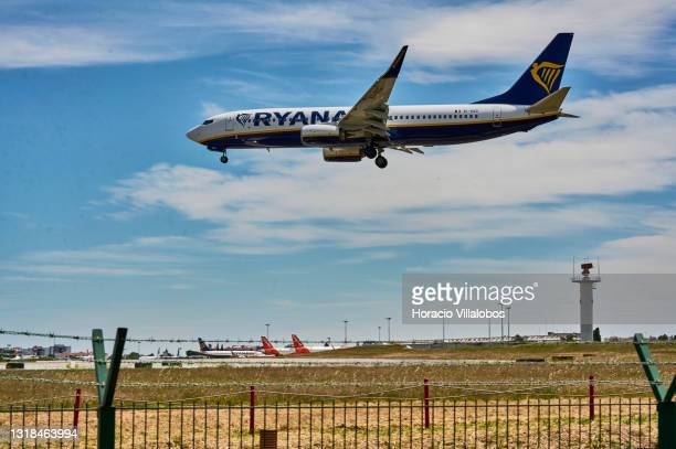 Ryanair flight FR1080 from London Stansted lands in Humberto Delgado International Airport during the first day of new travel regulations between...