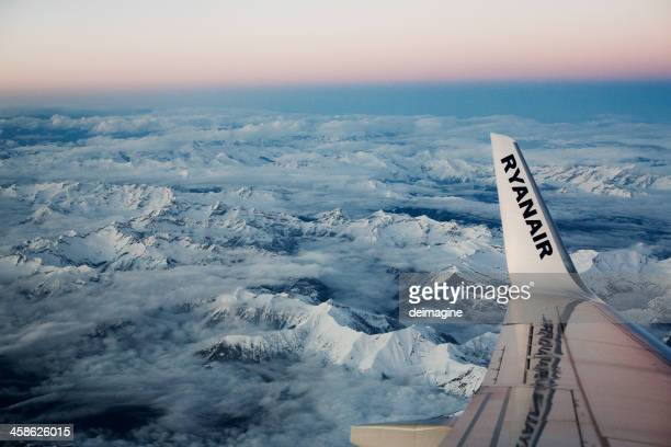 Ryanair Flight on Swiss Italian Alps, Aerial View