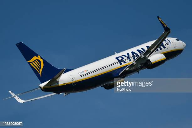 Ryanair flight to Lisbon departs from Dublin Airport. On Monday, May 31 in Dublin, Ireland.