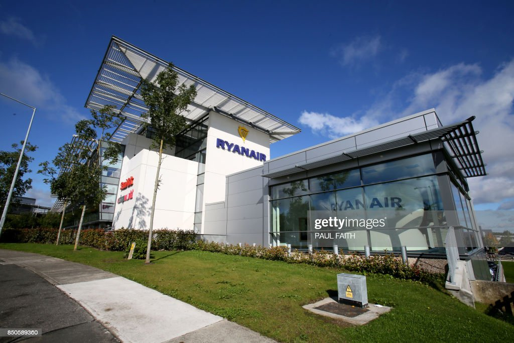 Ryanair headquarters are pictured at Airside Business Park in Dublin on September 21, 2017. Ryanair chief executive Michael O'Leary on September 21, 2017, said he could not rule out axing more flights, but added any additional cancellations would not be linked to ongoing pilot roster problems. / AFP PHOTO / Paul FAITH