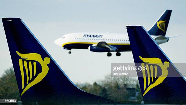 Ryanair jet lands stands at Stansed airport February 4 2003 in London United Kingdom Ryanair a lowbudget airline announced pretax profits of 478m...