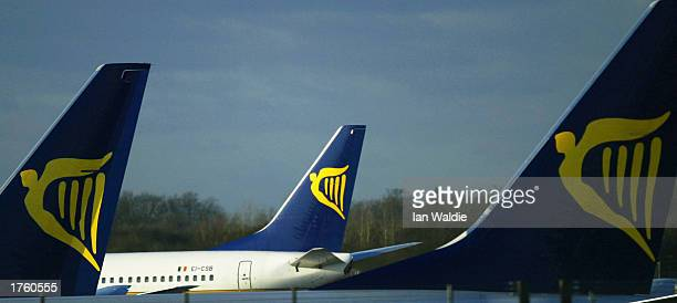 Ryanair jets sit on the tarmac at Stansed airport February 4 2003 in London United Kingdom Ryanair a lowbudget airline announced pretax profits of...