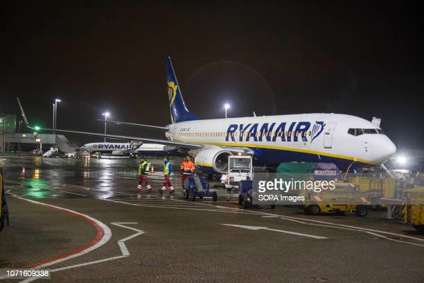Ryanair low cost airline Boeing 737 airplanes seen in London Stansted Airport in England. Ryanair with FR as airline code operates a single type...