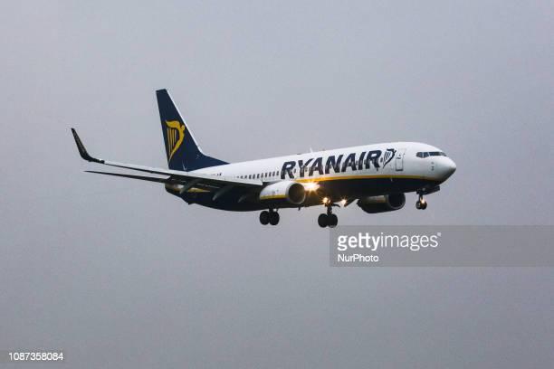 Ryanair, low cost airline, Boeing 737-800 with registration EI-EMD landing in Brussels Zaventem International Airport BRU / EBBR in Belgium.