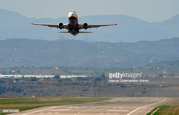 Ryanair low cost airline company takesoff at Castellon airport on September 15 2015 in Castellon de la Plana Spain Ryanair is the first airline to...