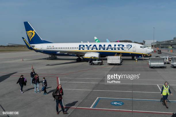 Ryanair low cost carrer airplanes as seen in Eindhoven airport in Netherlands in April 2018 during a day