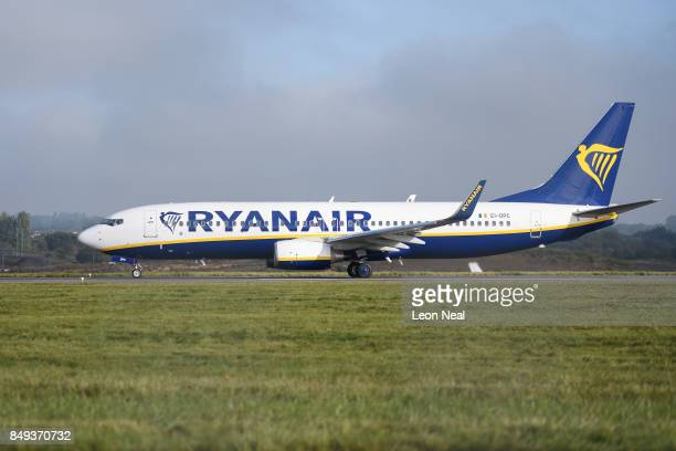 Ryanair passenger plane taxis on the runway at Luton airport on September 19 2017 in Luton England Passengers are facing severe travel disruption...