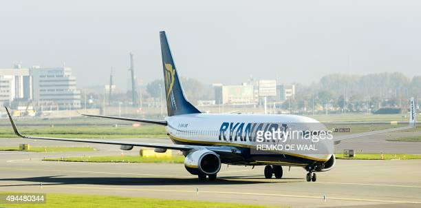 A Ryanair plane arrives at Schiphol Airport in Amsterdam The Netherlands on October 27 2015 Irish lowcost airline Ryanair starts a connection between...