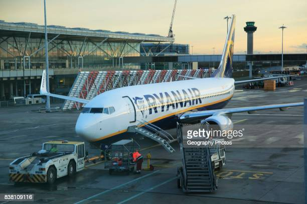 Ryanair plane at Stansted airport Essex England UK
