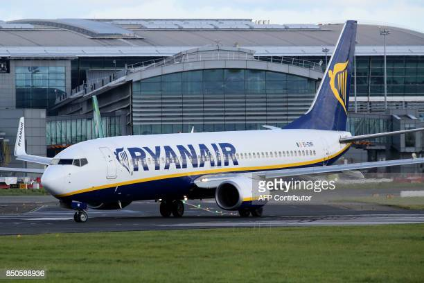 A Ryanair plane is parked on the tarmac at Dublin Airport on September 21 2017 Ryanair chief executive Michael O'Leary on September 21 said he could...