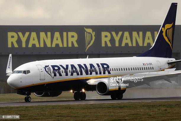 Ryanair plane lands at Stansted Airport on October 20, 2016 in London, England. Ryanair has reduced its profit forecast following the drop in the...