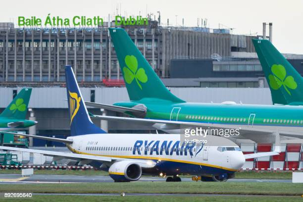 A Ryanair plane on the runway at Dublin airport passes near Aer Lingus planes Passengers are facing severe travel disruption after Ryanair pilots in...
