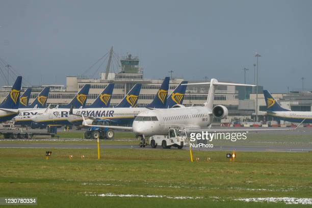 Ryanair planes seen grounded at Dublin Airport during Level 5 Covid-19 lockdown. On Sunday, 24 January in Dublin, Ireland.