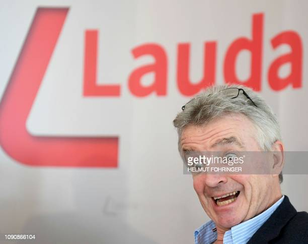 RyanairCEO Michael O'Leary holds a press conference with the LaudamotionCEO at the airport of Vienna Schwechat Austria on January 29 2019 The Irish...