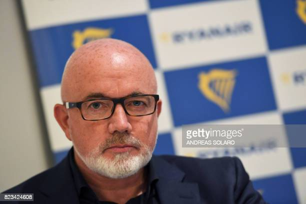 Ryanair's Chief Commercial Officer David O'Brien gives a press briefing in Rome on July 27 2017 Ryanair has announced new routes and new services...