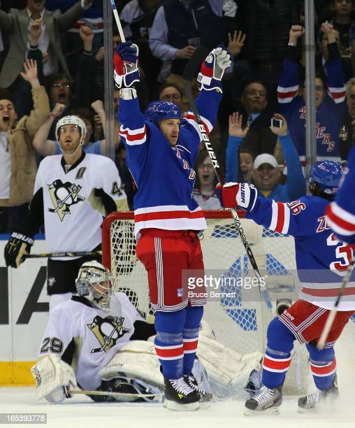 Ryane Clowe of the New York Rangers celebrates his first goal as a Ranger and first goal of the season at 1419 of the first period against MarcAndre...