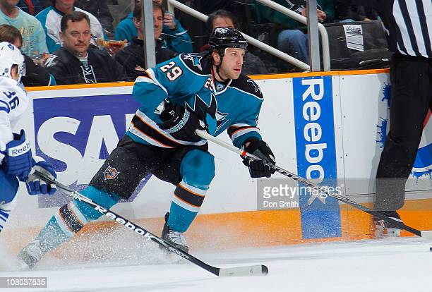 Ryane Clowe of the San Jose Sharks makes a pass against the Toronto Maple Leafs during an NHL game on January 11, 2011 at HP Pavilion at San Jose in...
