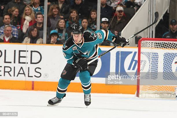 Ryane Clowe of the San Jose Sharks skates up ice during an NHL game against the Anaheim Ducks on December 26, 2009 at HP Pavilion at San Jose in San...