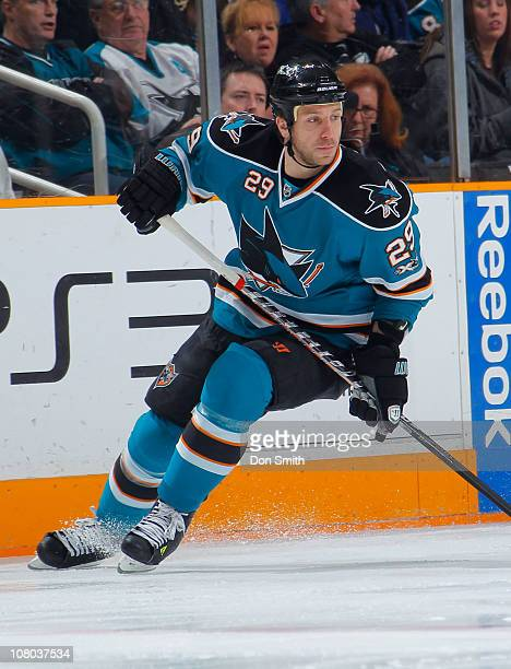 Ryane Clowe of the San Jose Sharks skates up the ice against the Toronto Maple Leafs during an NHL game on January 11, 2011 at HP Pavilion at San...