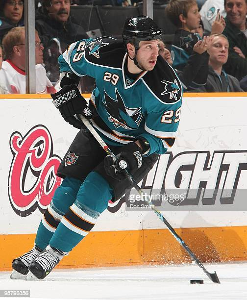 Ryane Clowe of the San Jose Sharks skates with the puck during an NHL game against the Detroit Red Wings on January 9, 2010 at HP Pavilion at San...