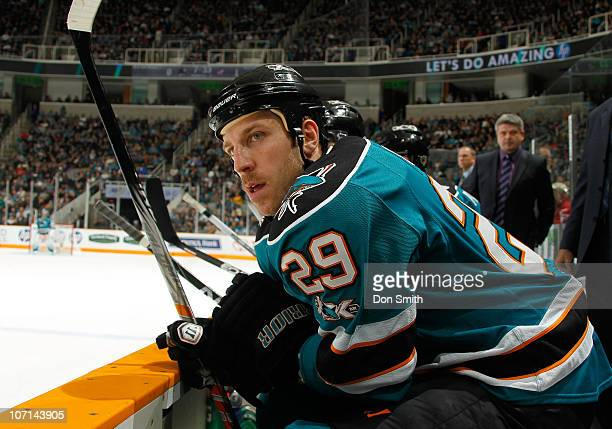 Ryane Clowe of the San Jose Sharks watches action against the Columbus Blue Jackets during an NHL game on November 20 2010 at HP Pavilion at San Jose...