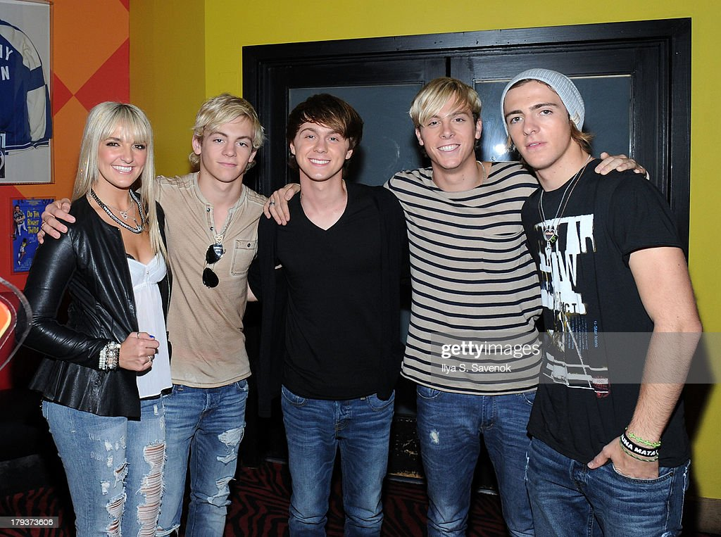 Rydel Lynch, Ross Lynch, Ellington Ratliff, Riker Lynch and Rocky Lynch of the band R5 visit Planet Hollywood Times Square on September 2, 2013 in New York City.