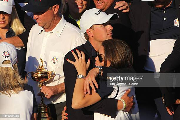 Ryder Cup 2016 Day Three Jordan Spieth and his partner Annie Verret as the United States team players and their spouses and partners celebrate with...