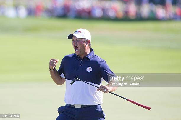 Ryder Cup 2016. Day Three. Patrick Reed of the United States celebrates on the eighteenth after defeating Rory McIlroy of Europe during the Sunday...