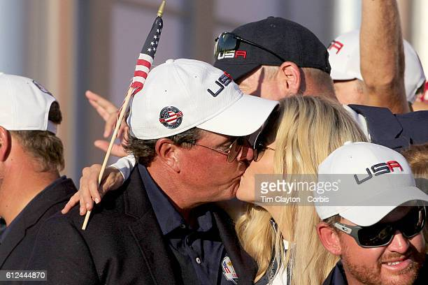 Ryder Cup 2016 Day Three Phil Mickelson celebrates with his wife Amy as the United States team celebrate their Ryder Cup win after the United States...