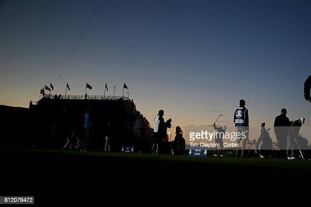 Ryder Cup 2016. Day Two. Rory McIlroy of Europe practicing on the driving range at sunrise before the start of competition during the Ryder Cup at...