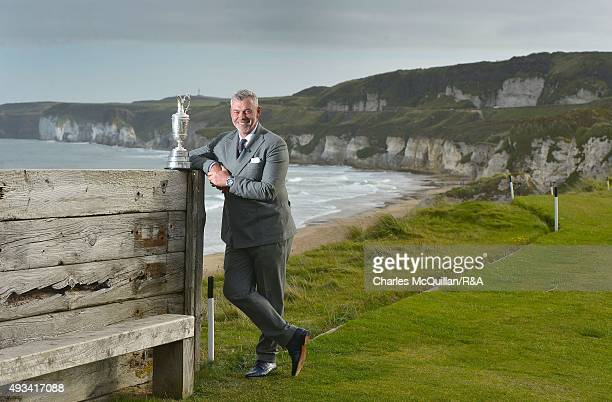 Ryder Cup captain and former Open winner Darren Clarke stands with the claret jug on the 6th tee at Royal Portrush Golf Club overlooking the White...