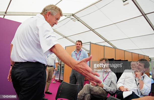 Ryder Cup captain Colin Montgomerie of Scotland addresses members of the media during a press conference prior to the pro am for the Vivendi cup at...