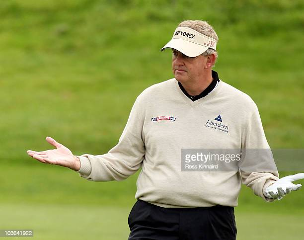 Ryder Cup Captain, Colin Montgomerie of Scotland during the first round of The Johnnie Walker Championship at the Gleneagles Hotel and Resort on...