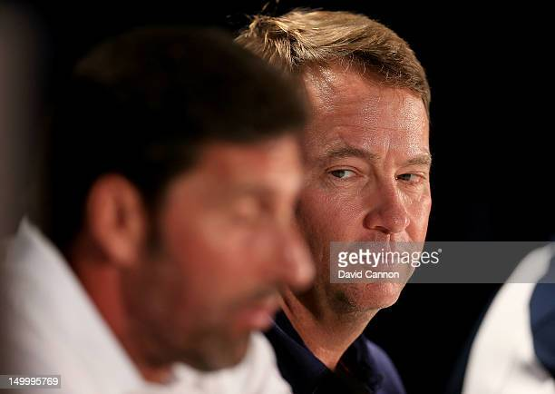 S Ryder Cup Captain Davis Love III looks on as European Ryder Cup Captain Jose Maria Olazabal speaks during a press conference during a practice...