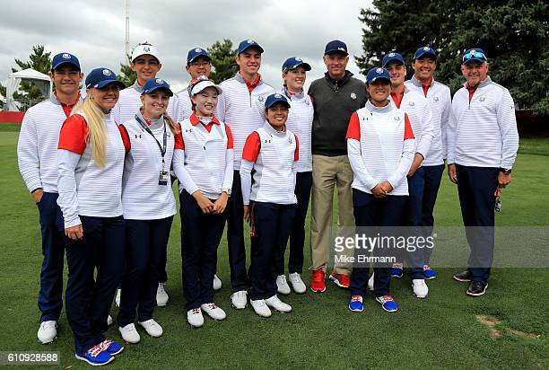 Ryder Cup Captain Davis Love III of the United States poses with the United States Junior Ryder Cup team and captain Jim Remy during the Junior Ryder...