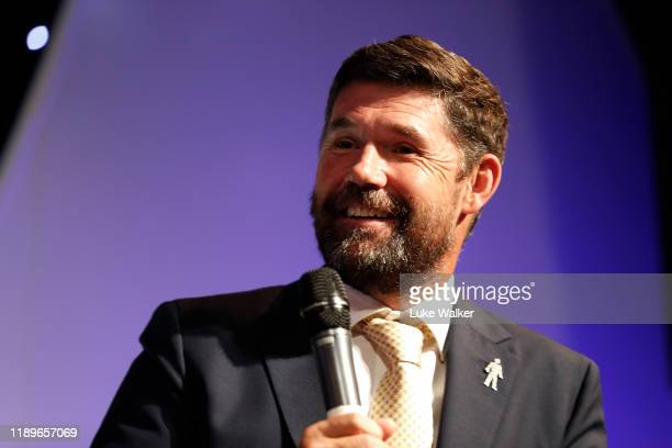 Ryder Cup Captain Padraig Harrington of Ireland talks to the audience during the PGA Lunch at Grosvenor House on December 20 2019 in London England