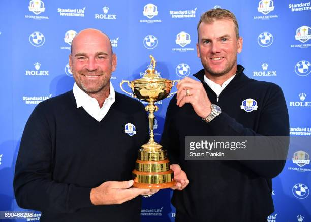 Ryder Cup Captain Thomas Bjorn of Denmark at the announcement of his Vice Captain Robert Karlsson of Sweden prior to the start of the Nordea Masters...