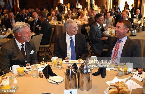 Ryder Cup Captains Darren Clarke and Davis Love III chat with Governor Mark Dayton Governor of Minnesota during the 2016 Ryder Cup 'Welcome To...