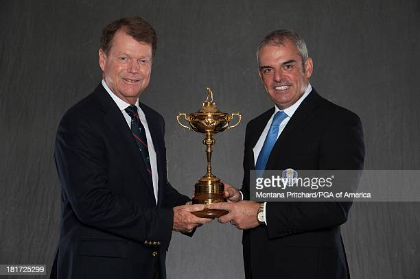 Ryder Cup Captains Tom Watson and Paul McGinley pose for the official portraits for the 2014 Ryder Cup during the OneYearToGo event at Gleneagles on...