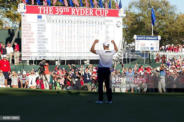 Ryder Cup European Team member Martin Kaymer celebrates after making his putt to give Europe the win in the 39th Ryder Cup at Medinah Country Club on...