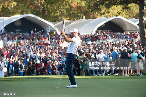 Ryder Cup European Team member Martin Kaymer makes his putt to give Europe the win during the 39th Ryder Cup at Medinah Country Club on September 30,...