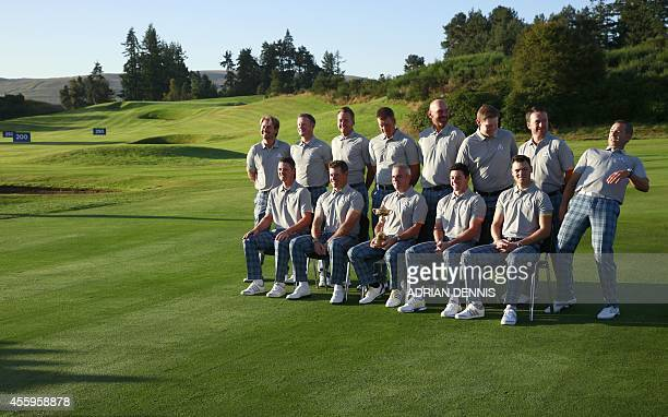 Ryder Cup Europe's Team players Justin Rose of England Lee Westwood of England Captain Paul McGuinley of Ireland Rory McIlroy of Northern Ireland and...