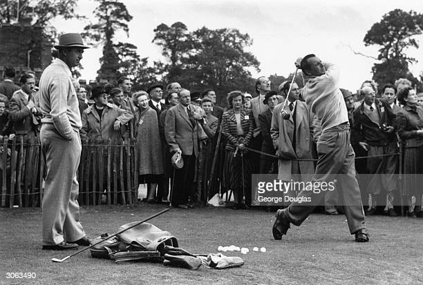 Ryder Cup golfers Sam Snead and Max Faulkner practise before the competition at Wentworth Original Publication Picture Post 6893 Did We See The End...