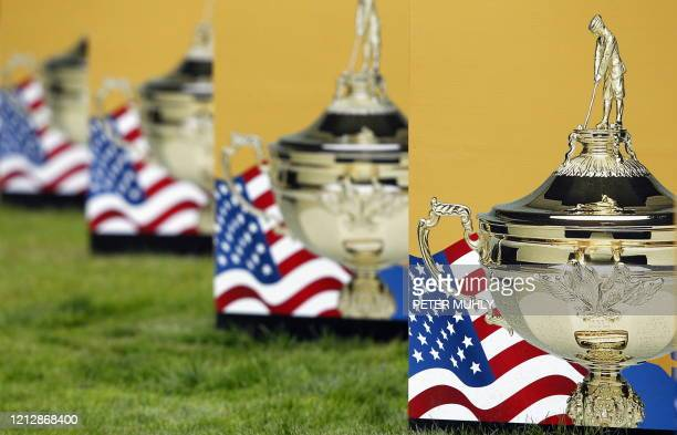 Ryder Cup logos are pictured at Celtic Manor golf course in Newport Wales on September 27 2010 The 2010 Ryder Cup golf matches between Europe and the...
