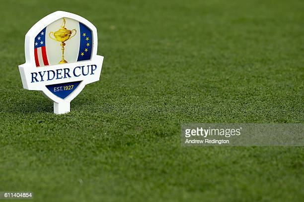 Ryder Cup marker is seen during the 2016 Ryder Cup Captains Matches at Hazeltine National Golf Club on September 29 2016 in Chaska Minnesota