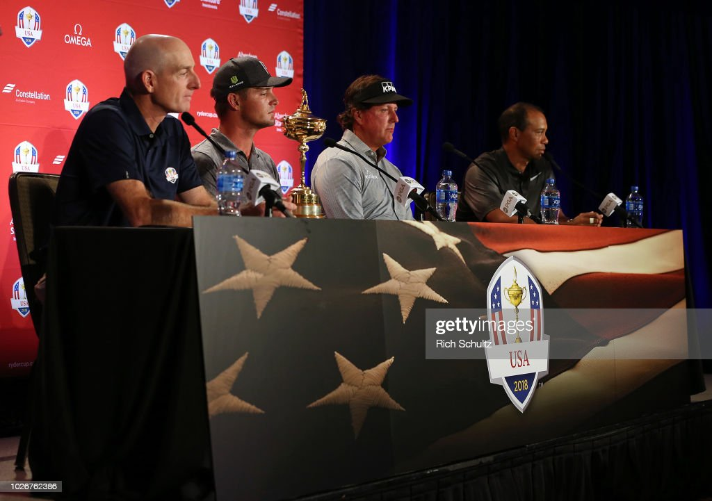 U.S. Ryder Cup Team Captain Jim Furyk announces Bryson DeChambeau, Phil Mickelson and Tiger Woods as the Captain's Picks for the 2018 U.S. team during a press conference at the Philadelphia Marriott West on September 4, 2018 in West Conshohocken, Pennsylvania.